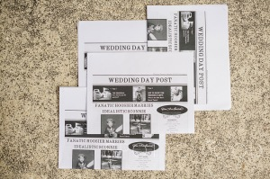 I created a wedding day newspaper which included fun trivia about us and bios of the bridal party.