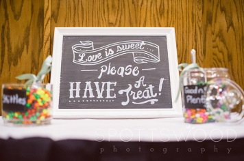 My cousin and her husband designed some amazing graphics to display on the chalkboard signs for this candy bar display at our wedding.