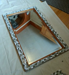 Mirror after I positioned all the tiles.