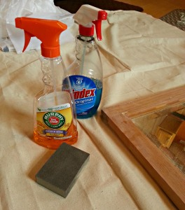 I used standard wood cleaner and a damp cloth to clean the surface.