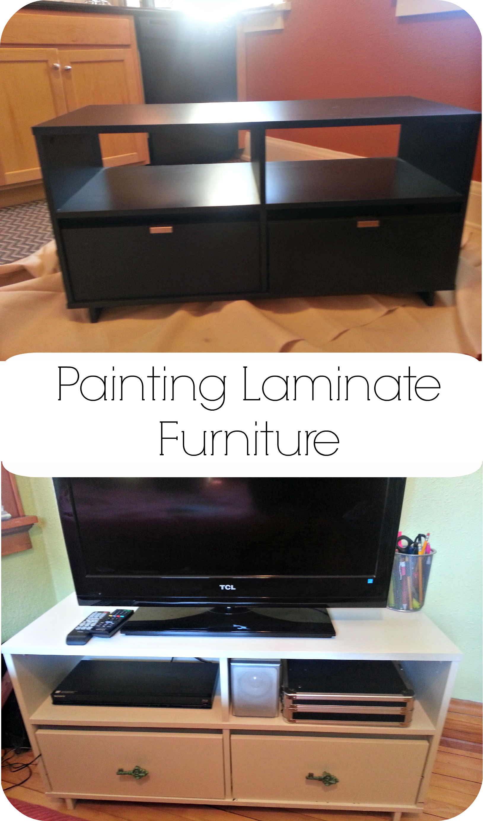painting laminate furniture tv stand upgrade inky pinky diy. Black Bedroom Furniture Sets. Home Design Ideas
