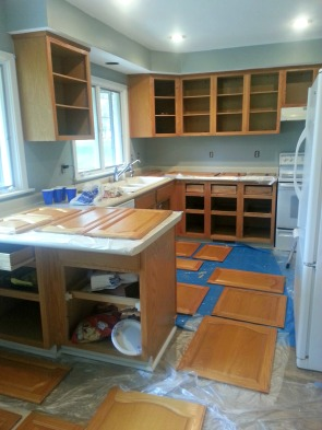 Our kitchen after I was done taking all the cabinets off.