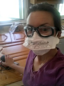 Wear a mask and protective goggles when sanding if possible!
