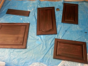 The cabinets after the first coat!