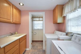 The pink laundry room. I love having first floor laundry!